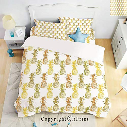 Homenon Luxury 4-Piece Bed Sheet,Hide Zipper Closure,Hand Drawn Simply Sketched Stamp Minimal Background Pineapples,Mustard Cinnamon Olive Green,King Size ()