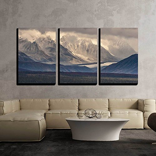wall26-3 Piece Canvas Wall Art - Fall Photograph of Mountains and Receding Glaciers - Modern Home Decor Stretched and Framed Ready to Hang - 16