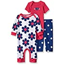 Gerber Baby Three Piece Coverall Bodysuit and Legging Set, Butterfly, 3-6 Months