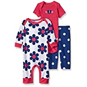 Gerber Baby Three Piece Coverall Bodysuit and Legging Set, Butterfly, New Born