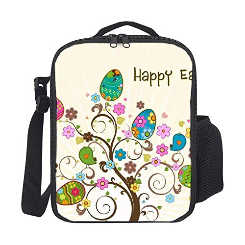 Happy Easter Clipart Eggs Tree Lunch Bags with Shoulder Strap Insulated Portable Lunch Box for Women for Men for Kids Girls for School