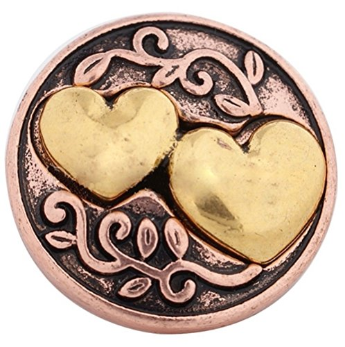 Rockin Angels Copper Gold Double Hearts 20mm Snap Charm For Ginger Snaps Magnolia Vine