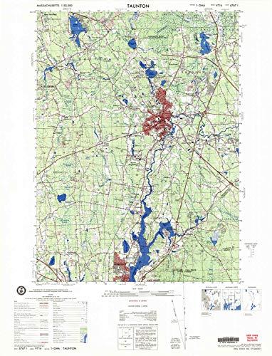 YellowMaps Taunton MA topo map, 1:50000 Scale, 15 X 15 Minute, Historical, 1979, 28.9 x 22 in - Paper -