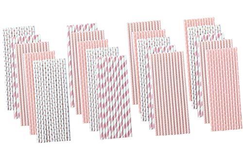 Light Pink Paper Straws - Stripe Chevron Polka Dot - Bulk Pack of 500]()