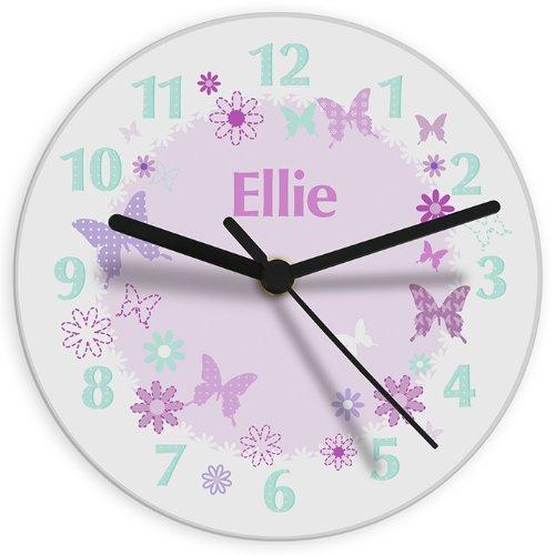 Personalised Girl\'s Bedroom Wall Clock - Butterfly Design, Bedroom ...