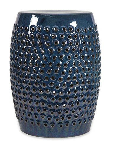 "CC Home Furnishings 19"" Chic Navy Indigo Bubbled Cut Work Ceramic Foot Stool Seat from CC Home Furnishings"