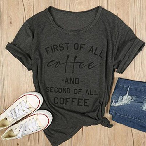 FULLIN Loose T-Shirt Blouse Women First Of All Coffee Letter Print T-shirt Short Sleeve Round Neck Baseball Shirt
