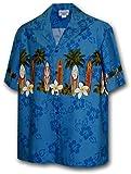 Hawaiian Shirt for Boys - Blue w/ Surf Board Border, Small