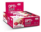 Optimum Nutrition Opti-Bar Protein Bar, White Chocolate Raspberry, 12 Count
