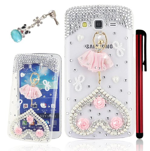 Ancerson Eye-catching Handmade Bling Crystal Diamond Rhinestone Clear Transparent Back Hard Protective Case for Samsung Galaxy Grand 2 G7100/ G7102/ G7105 with Free Red Stylus Pen and Lovely Blue Panda Dust Plugs (Elegant Pink Dress Ballerina Love Heart Roses Bowknot)