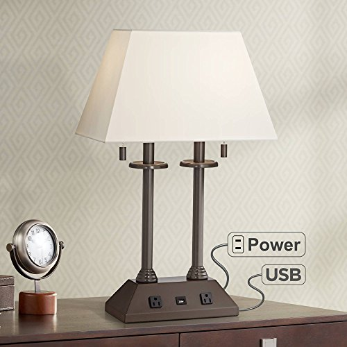 Charlton Traditional Desk Table Lamp with Hotel Style USB and AC Power Outlet in Base Bronze Rectangular Fabric Shade for Bedroom Office - Regency ()