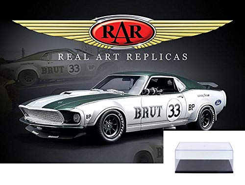 Real Art Replicas Diecast Car & Display Case Package - 1969 Ford Mustang Boss 302 Trans Am Hard Top, Allan Moffat #33 RAR18002 - 1/18 Scale Diecast Model Toy Car w/Display Case