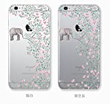 iPhone 6 / 6S 4.7-inch Transparent Case Flower Ultra Slim Thin Soft Cover Anti-Slip Shell (elephant flowers)