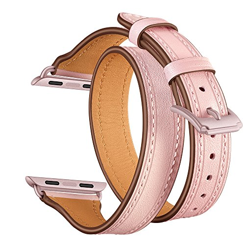 - Elobeth Compatible Apple Watch Band 38mm, Genuine Leather Double Wrap Slim Bracelet Strap Metal Buckle Designed Thread for Apple Watch 38mm Series3/2/1, Double Tour Pink (Pink Buckle) 38mm