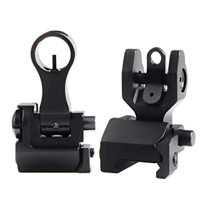 Flip Up Sights Backup Iron Sight with Lightweight Durable Folding Down  Elevating and Windage Adjustment Easy to Mount Picatinny Mount for Rifle