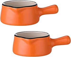 YARDWE 2pcs Ceramic Dipping Bowl Mini Milk Pan Pot Butter Warmer with Handle and Spout Baby Food Bowl Porcelain Sauce Dish for Condiment Appetizer 50ml