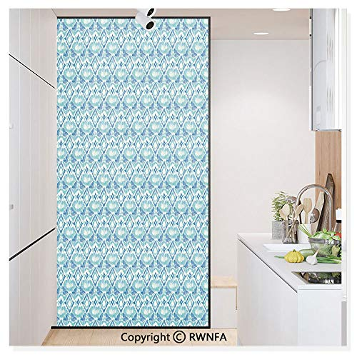 Window Film Door Sticker Glass Film Abstract Shapes with Lines Marine Color Palette Asian Traditional Motifs Both Suitable for Home and Office, 17.7 x 78.7 inch,Blue Turquoise Cream