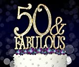 50 & Fabulous, 50th Birthday Cake Topper, Crystal Rhinestones on Gold Metal, Party Decorations, Favors