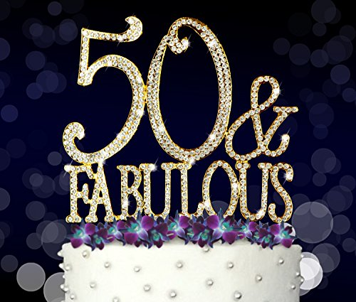 Classic Gold Tone Frame (50 & Fabulous, 50th Birthday Cake Topper, Crystal Rhinestones on Gold Metal, Party Decorations, Favors)