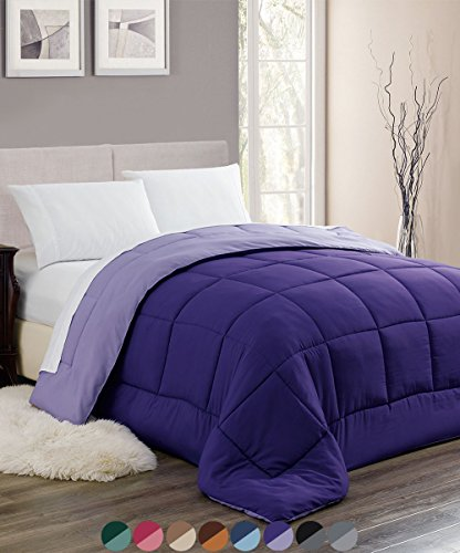 Woven Trends Sleep Elegance All-Season Down Alternative Comforter - Stitched Quilted Reversible Hypoallergenic Reversible Comforter (King, Plum)