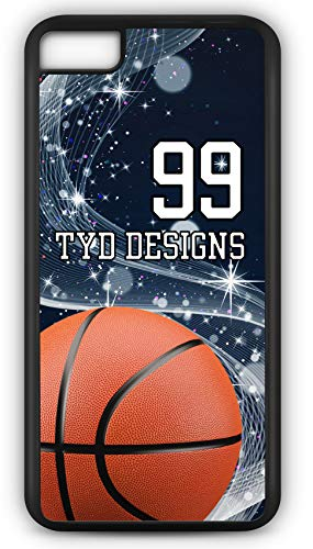 iPhone 8 Case Create Your Own Basketball #BK005 with Player Number and/Or Name Or Team Name Customizable by TYD Designs in Black Plastic