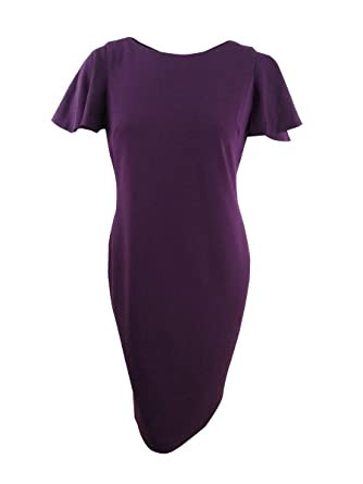 7b6c9979 Calvin Klein Women's Flutter Sleeve Sheath Dress CD7C133D Aubergine Dress  at Amazon Women's Clothing store: