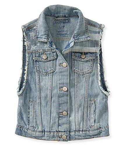 Aeropostale Womens Americana Denim Vest, Blue, Small (Jeans Aeropostale For Women)