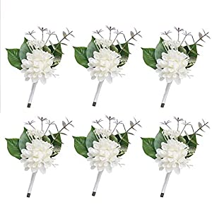 White Handcrafted Boutonniere for Men Wedding, Brooch Bouquet Corsage Classic Artificial Groom Bride Flowers with Pin for Wedding Prom Party 6 Pcs 94