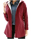 SportsX Womens Hooded Mid Length Plaid Warm Slim Fitting Blouse Shirt Red S