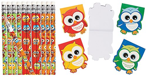 Hoot Owl Birthday Party Favor Pack (12 pencils & 12 Owl-Shaped Notepads) School Supplies/Stationery -
