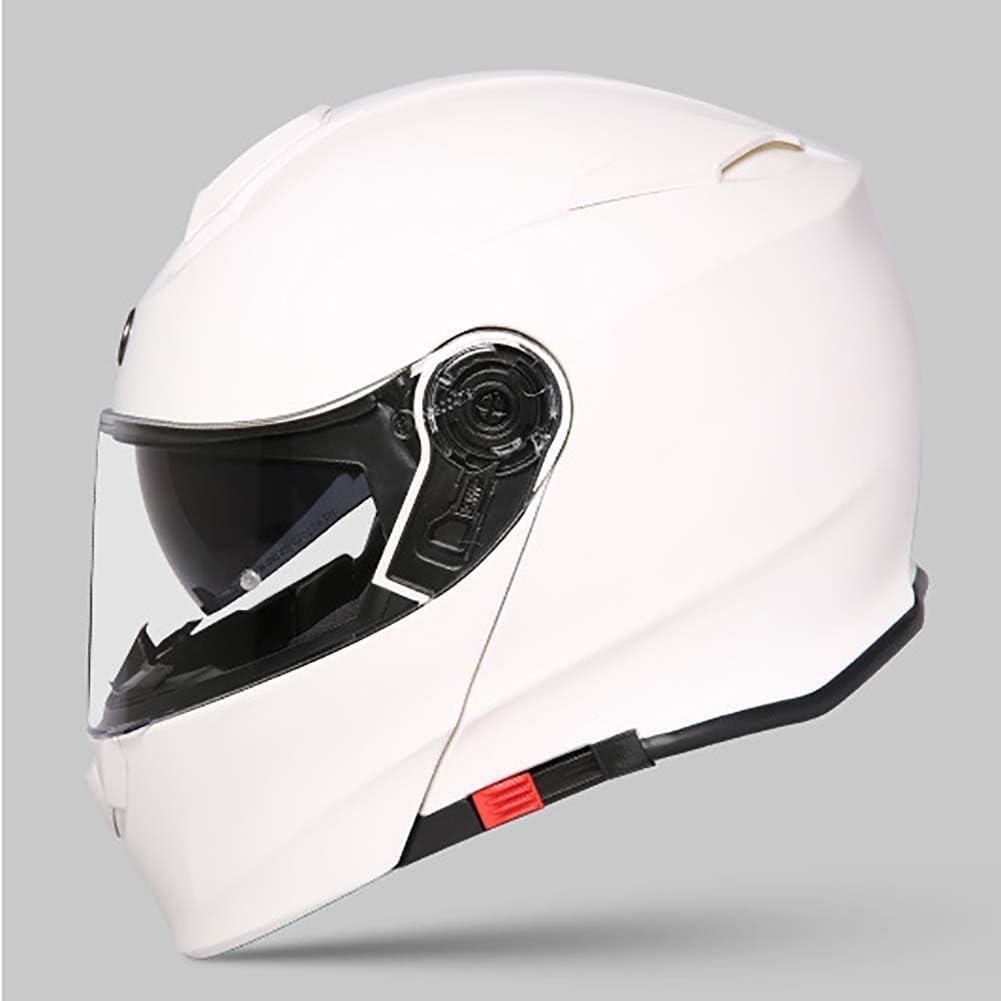 フリップアップモジュラーオートバイバイクのヘルメット、フルフェイスヘルメットハーフヘルメット変換裏地取り外して洗えるダブルサンバイザーホワイト lxhff (Color : -, Size : XL)