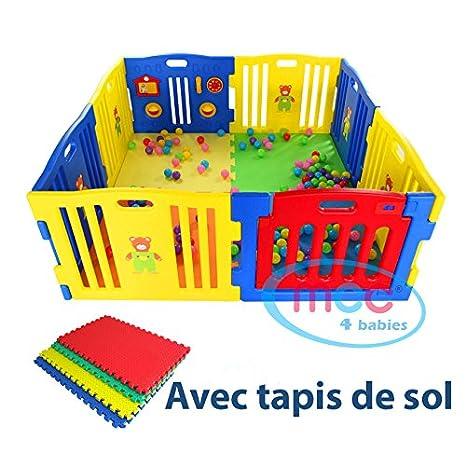 Mcc Parc Pour Bebes A 8 Cotes Avec Panneau D Activites Tapis De