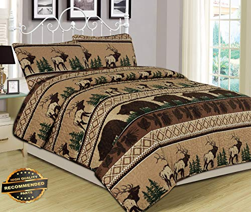 (Werrox King, Queen, or Twin Quilt Bed Set Bear Elk Log Cabin Lodge Rustic | Queen Quilt Set Size | Quilt Style QLTR-291266622 )