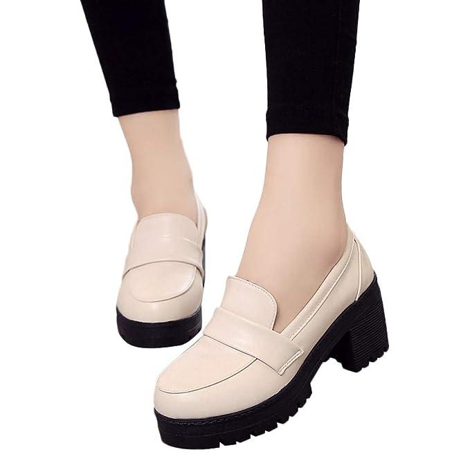 Zapatos Mujer De Tacón Alto Ancho 3cm De PU Con Plataforma Bailarinas Bombas De Color Solido Retro Casuales Zapatillas Solas De Vestir Calzado De Verano ...