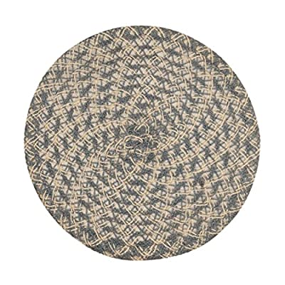 LinenTablecloth Round Woven Placemats (2 Pack), White/Grey - Placemats sold in Packs of 2 Stylish spiral-weave design Made from 100percent polyester - placemats, kitchen-dining-room-table-linens, kitchen-dining-room - 51%2BmO8NzskL. SS400  -