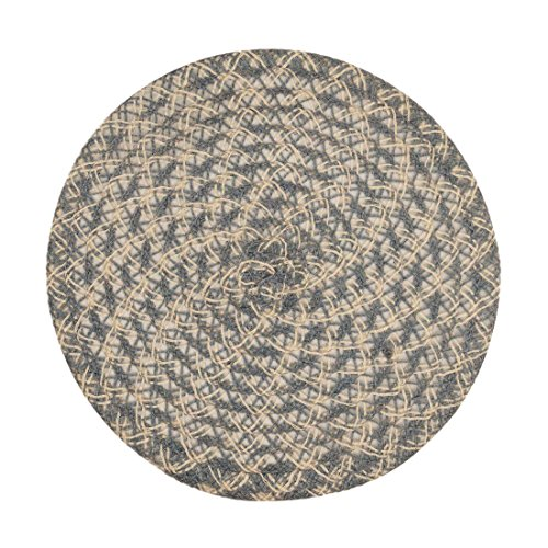 51%2BmO8NzskL - LinenTablecloth Round Woven Placemats (2 Pack), White/Grey