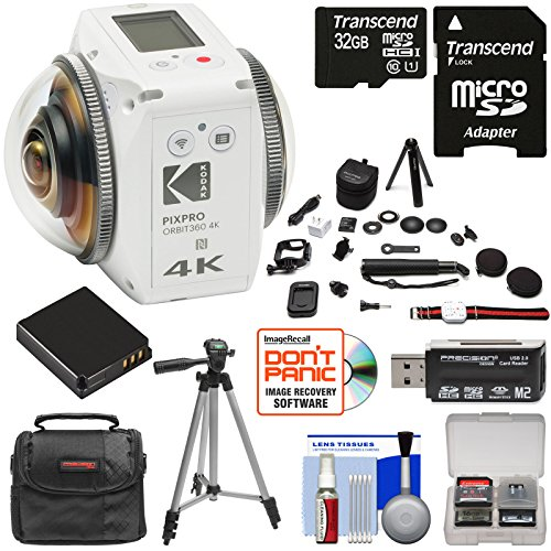 KODAK PIXPRO ORBIT360 VR 4K HD Wi-Fi Video Action Camera Camcorder - Satellite Pack with 32GB Card + Battery + Case + Tripod + Kit