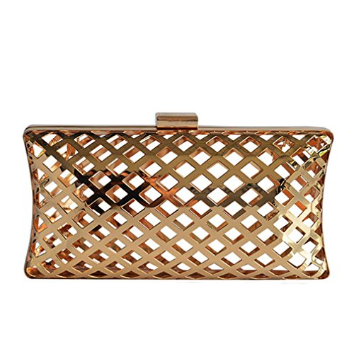 Bag Evening Pouch Metallic (Women's Evening Bag,Metallic Hollow Out Pouch Chain Messenger Bag Clutch Purse)