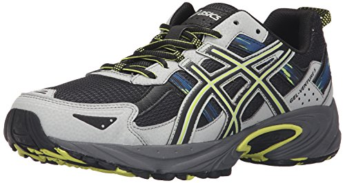 ASICS Men's Gel-Venture 5 Trail Runner, Dark Steel/Black/Neon Lime, 9 M US (Best Asics Cushioned Running Shoes)