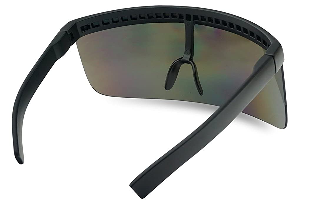 97ea52bd0d0 Amazon.com  Matte Black Retro Futuristic Single Shield Color Oversized  Visor Sunglasses (Matte Black