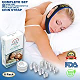 Anti Snoring Chin Strap - 8 Set Nose Vents & Travel Box - 2 Type Nasal Dilators & Adjustable Stop Snore Devices for Men and Women - CPAP Apnea Stopper - Snoring Solution