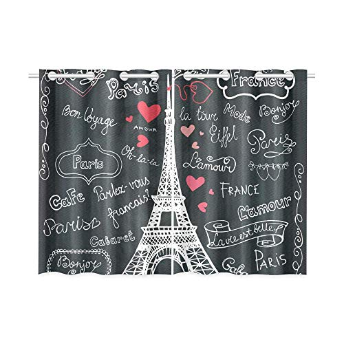 InterestPrint Blackout Window Curtains France Paris Eiffel Tower Room Bedroom Home Living Short Drapes Curtains 52X39 Inch (Paris Short)