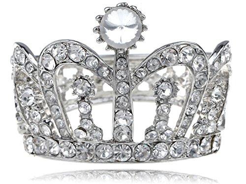 Alilang Silvery Tone Clear Crystal Colored Rhinestones Crown Tiara Princess Cuff Bracelet (Colored Rhinestone Costume Jewelry)