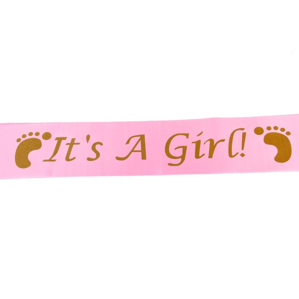 Veewon Baby Shower Sashes Set including Mummy To Be Sash and Its A Girl Sash Baby Shower Party Decoration