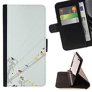 MINIMALIST PASTEL BIRDS WATERCOLOR/ Personalizada del estilo del dise???¡Ào de la PU Caso de encargo del cuero del tir????n del soporte d - Cao - For Apple Iphone 6 PLUS 5.5