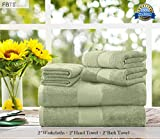 FBTS Basic Towel Sets Combination (Green, 2 x Washcloths, 2 x Hand Towel, 2 x Bath Towel) 6 Pieces Highly Absorbent Extra Soft Professional Grade Five-Star Hotel Quality
