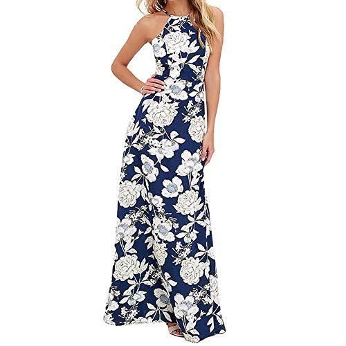 HOOYON Women's Maxi Dress Halter Neck Floral Print Sleeveless Backless Beach Long Dresses Blue L