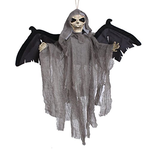 [Elevin(TM) New Halloween Party Decoration Sound Control Creepy Scary Animated Skeleton Hanging Ghost] (Funny Bones Skeleton Costume)
