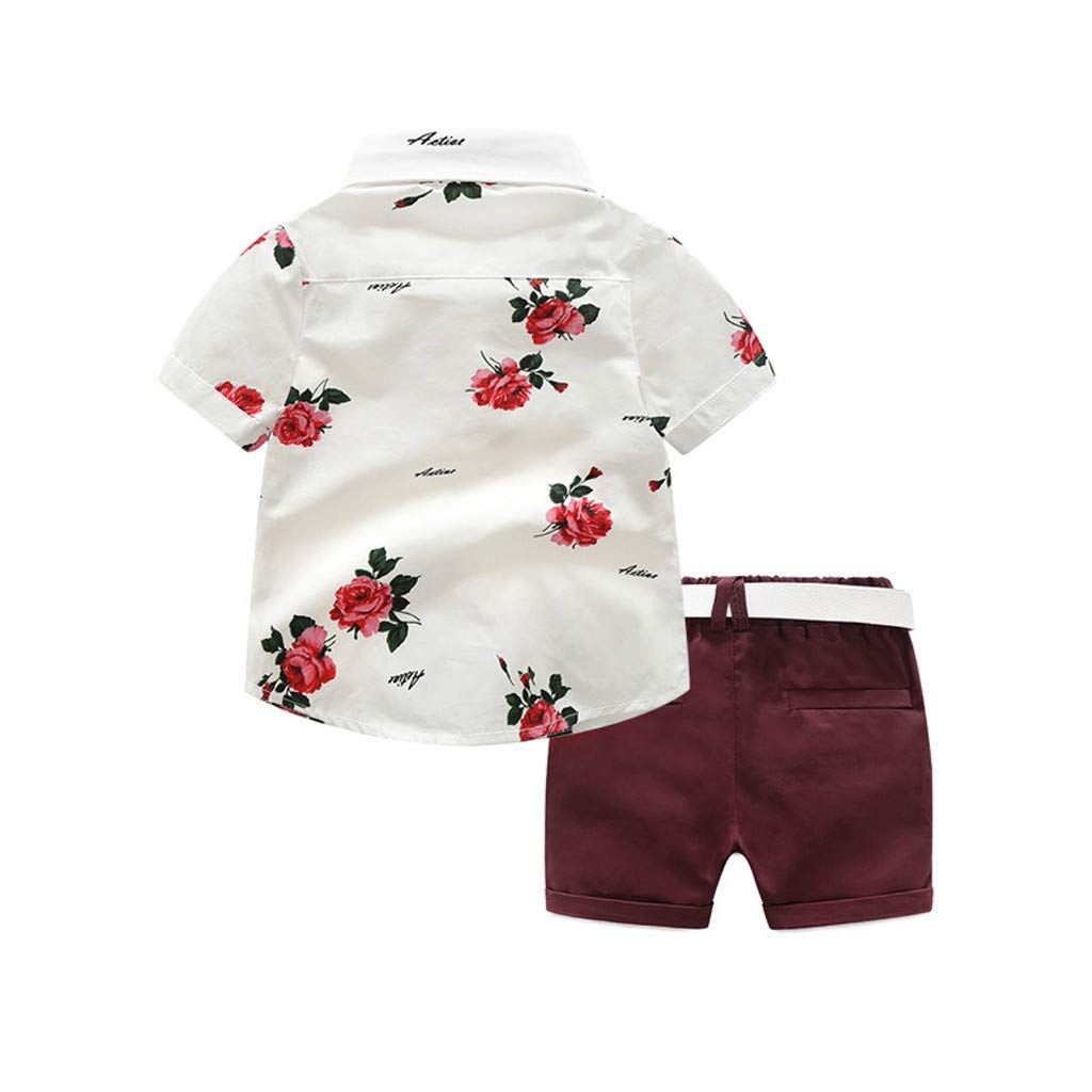 Cuekondy Toddler Baby Boys Kids Gentleman Suit Short Sleeve Rose Bow Tie T-Shirt Shorts 2019 Summer Clothes Outfit