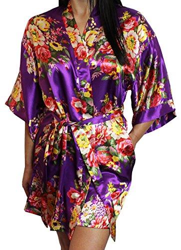 - Women's Satin Floral Kimono Short Bridesmaid Robe W/Pockets - Purple M/L